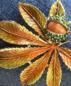 1960's Signed Exquisite Horse Chestnut Brooch - Conker Pin ( Number Two)(SOLD)